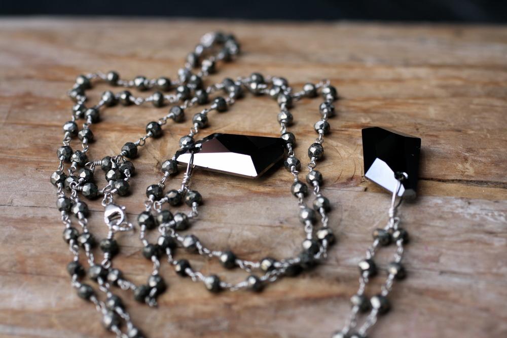 Tiny Dancer Avantegard Black Swarovski Pyrite Beaded SS Chain_03.JPG