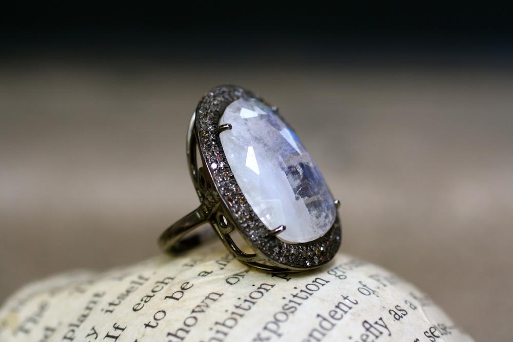 Organic Oval Moonstone Rhodium Double Row Diamond Pave Halo Filligree Ring_06.JPG