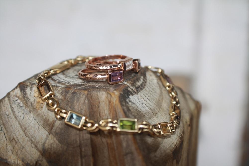 Stephanie Matko Custom Converted Rose Gold RG Diamond, Garnet and Amethyst Hammered Satin Stack Rings_45.JPG