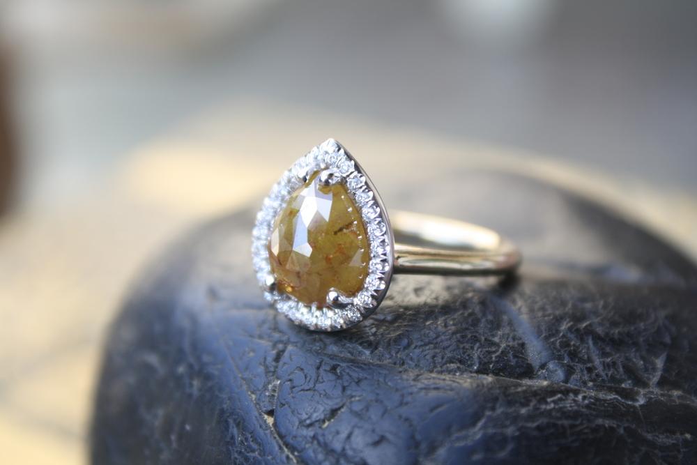 John Morris Yellow Rustic Diamond Pear Shape with Diamond Halo YG Band Engagement Ring_10.JPG