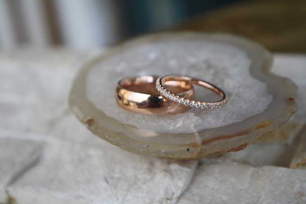 Taamer Tullgren & Elizabeth Bjornseth Wedding Band Rose Gold Diamond Eternity and Rose Gold High Polished Mens Band_24.JPG