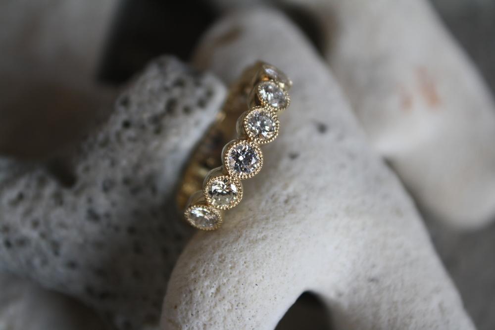 Halle Koch Yellow Gold Millsgrained Diamond Ring_08.JPG