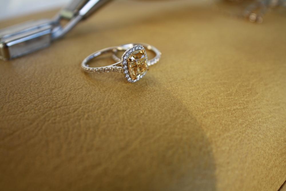 Janay & Nelson Heinrichs Custom Natural Canary Engagament Ring set in Platinum with Platinum Wedding Band & Diamond Halo_11.JPG