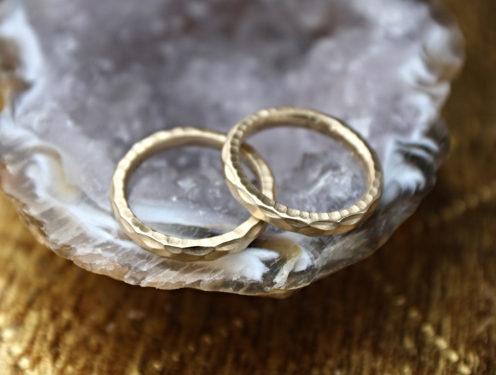 Michelle and Rochelle Hammered Gold Wedding Bands_20.JPG