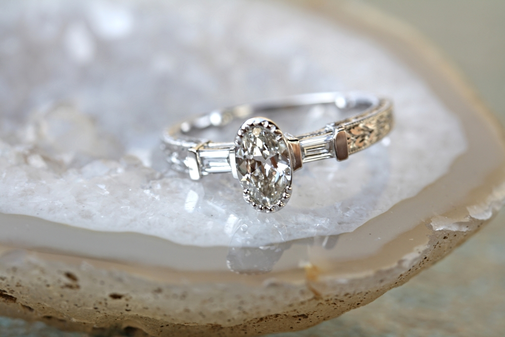 Sarah Gitenstein Marquis Diamond Made to Look Oval with Baguettes with Engraved Sides Engagement Ring_14.jpg
