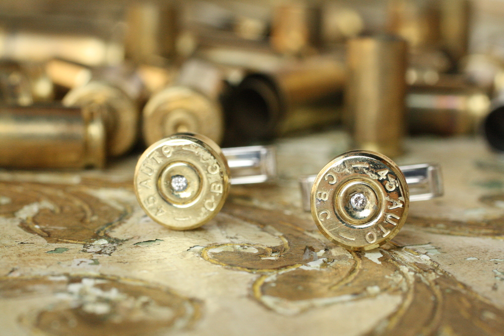 Bullet Cufflinks with inset Diamond