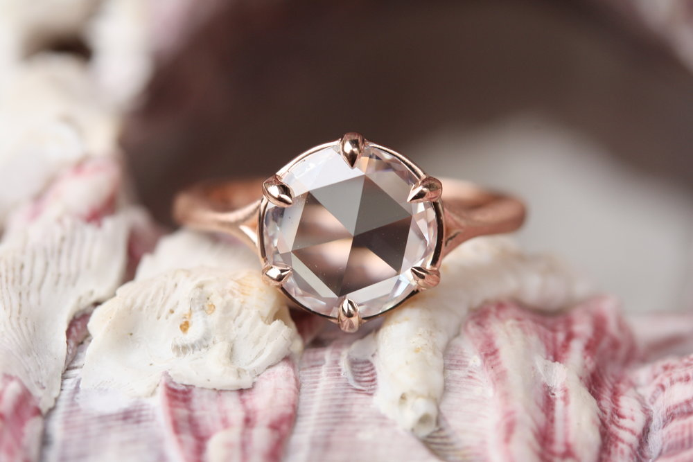 James Nawrocki Rose Cut Diamond Set in Brushed Rose Gold Engagement Ring_27.JPG