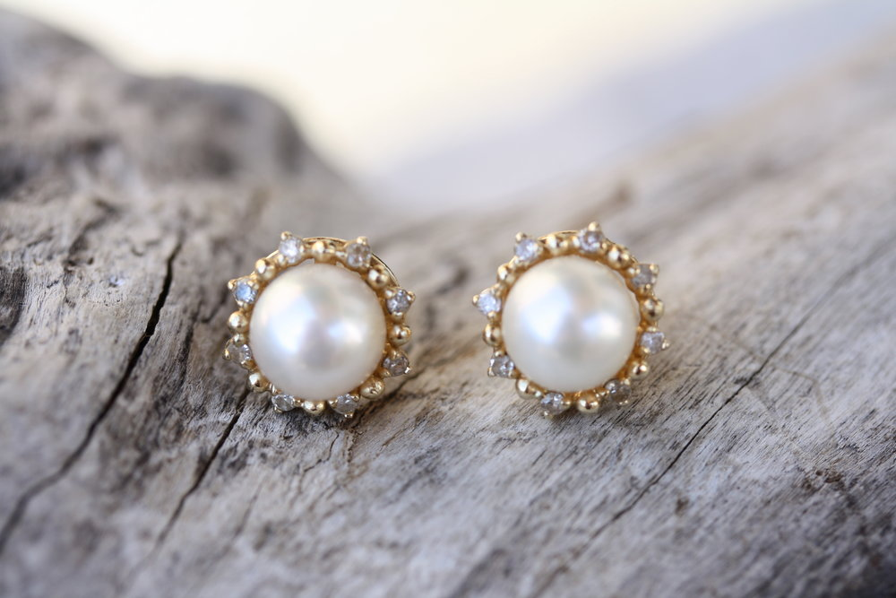 Vintage Pearl with Diamond Halo 14KY Stud Earrings_08 copy.JPG