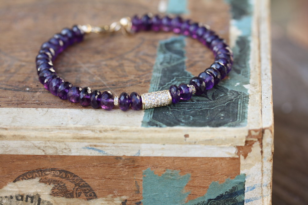 Amethyst Beaded Bracelet with YG Cylinder Pave Diamond Charms_10 copy.JPG