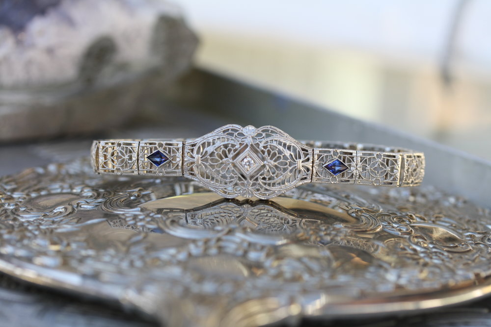 Vintage Bracelet Trillion Sapphire Diamond Center Filligree_08 copy.JPG