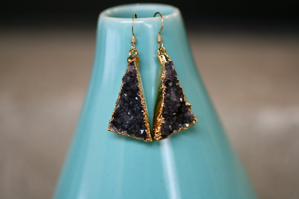 Britany Bitch Black Triangle Gold Electroplated Druzy Earrings_02.JPG