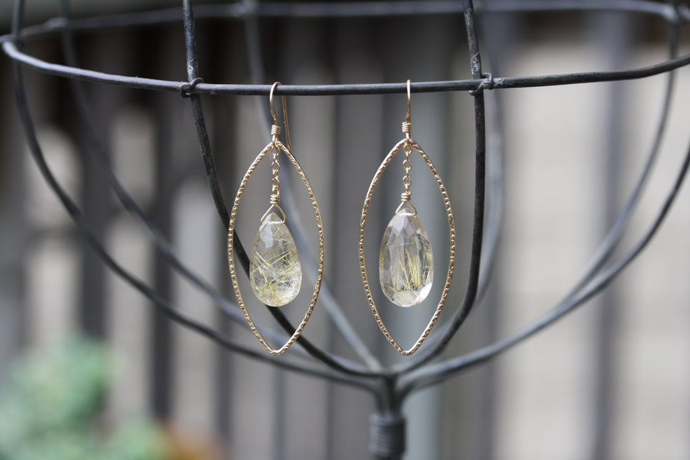 Golden Road Pear Rutilated Quartz Drop in Textured Gold Diamond Shaped Hoop Earrings_05 copy.JPG