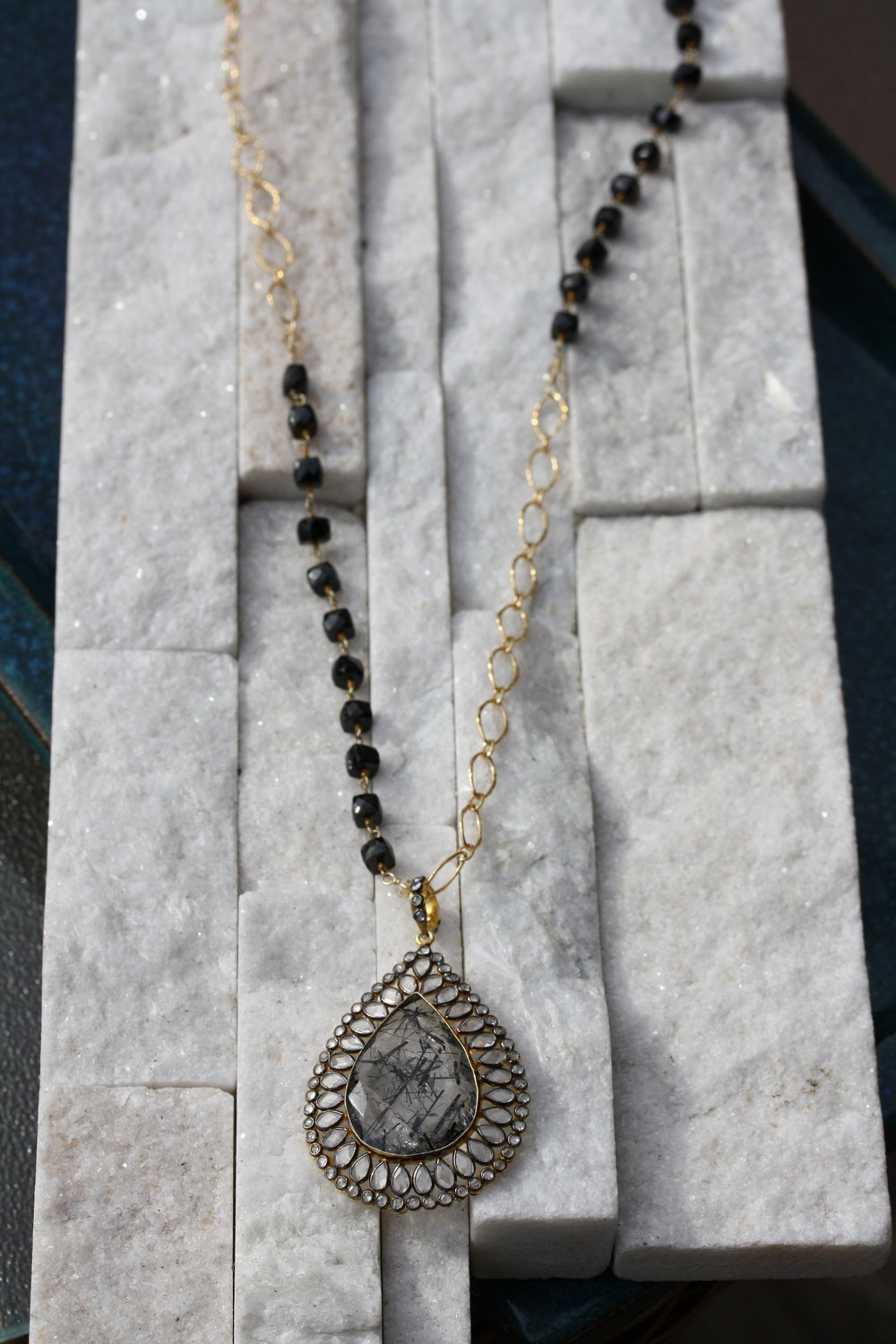 Black Spinel Large Half Beaded Chain with Tourmalated Quartz Doublet Pendant_01 copy.JPG
