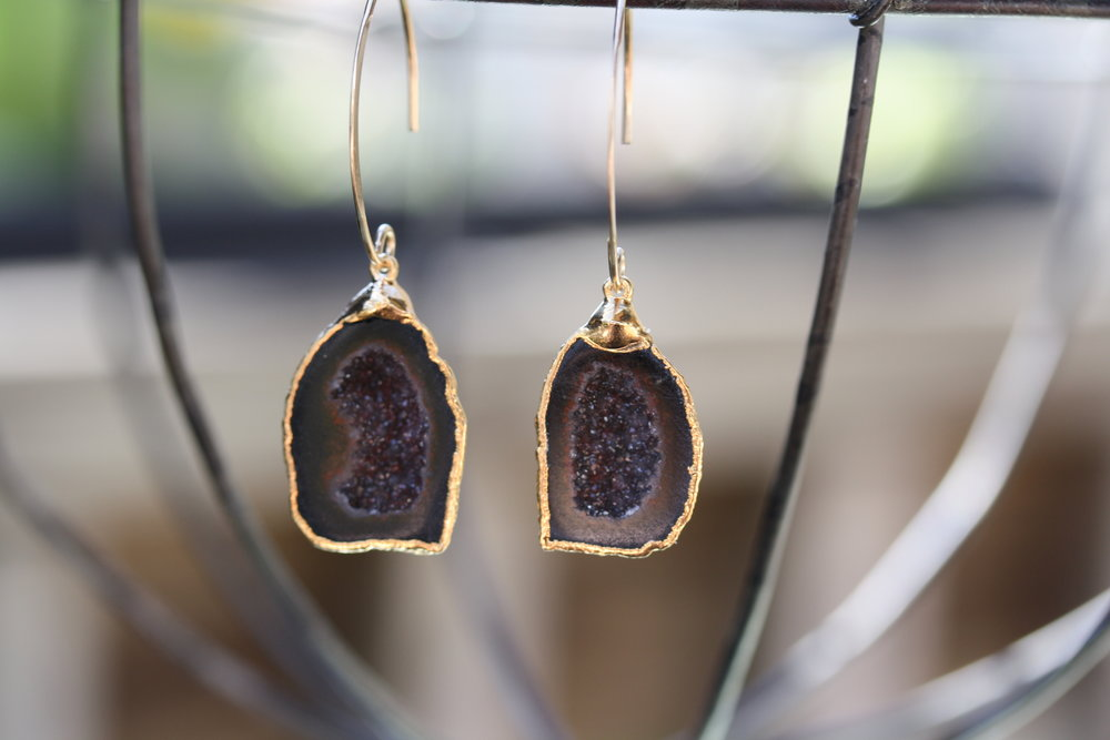 Cavern Earrings with Gold Filled GF V Hook Brown and Black Druzy_07 copy.JPG