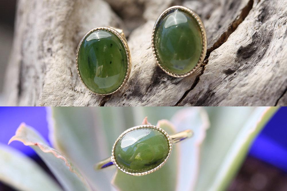 Jade YG Milgrain Earrings to Ring Conversion Before & After.jpg