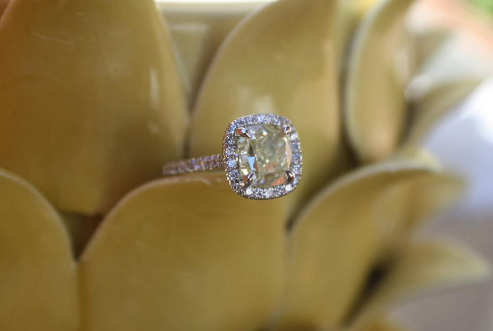 Janay & Nelson Heinrichs Custom Natural Canary Engagament Ring set in Platinum with Platinum Wedding Band & Diamond Halo_91.jpg
