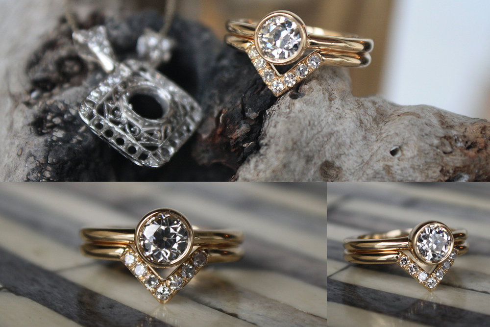 Stacy Morton YG Diamond Ring and V Band Before & After.jpg