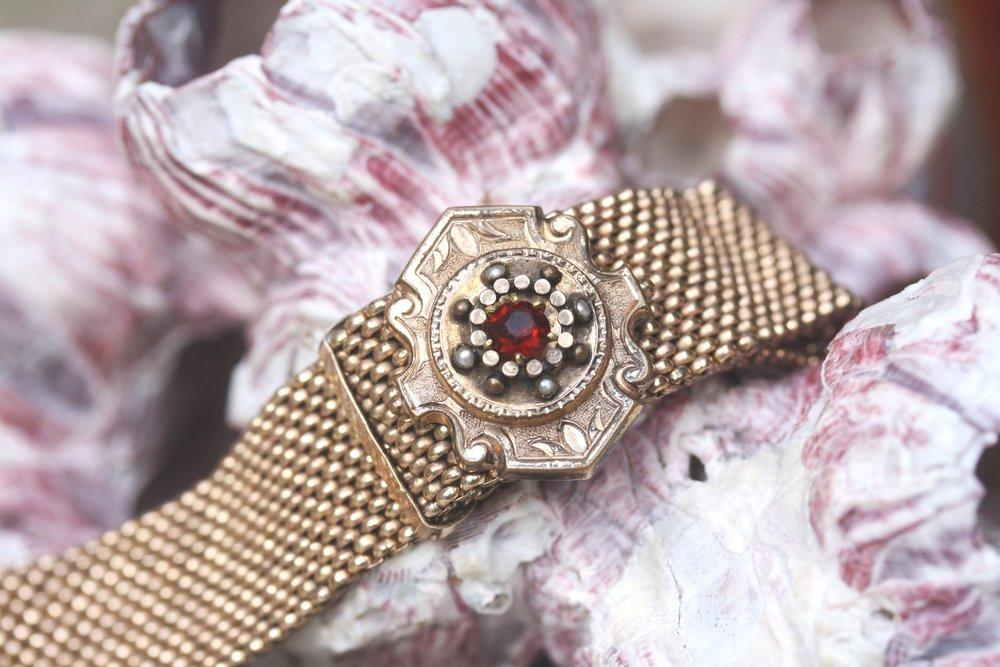 Vintage 1880 Adjustable Mesh Tassle Bracelet with Red Czech Glass 14K Gold Filled_33.JPG