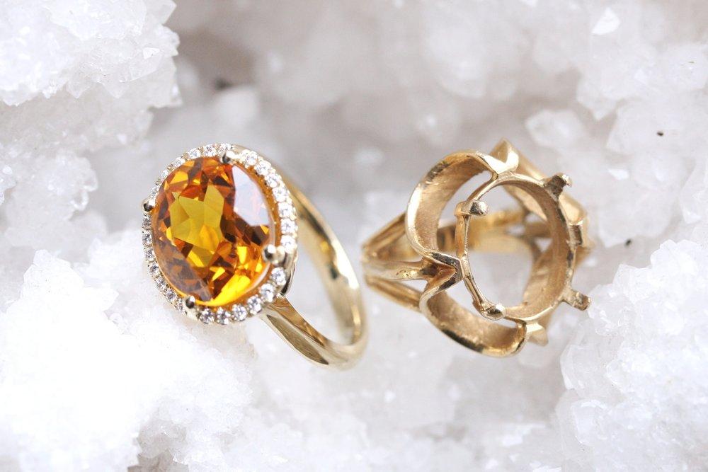 Rula Amber Custom Reinvent Citrine into Diamond Halo Yellow Gold Ring_07.JPG