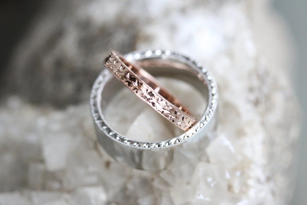 Hank Miller and Courtney Draiser Custom Wedding Bands 14kt White Gold and 14kt Rose Gold Engraved_22.JPG