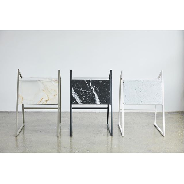 Object E stool #marble #design #function #form #onyx