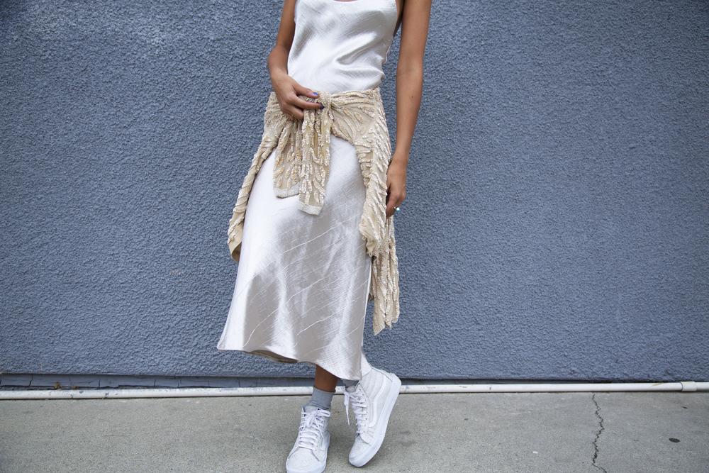 Zara ,  Cracked Leather High Top Vans ,  Gorman Socks