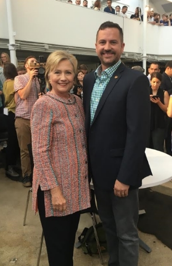 Hillary Clinton and Josh Anderson at Galvanize