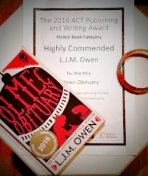 'olmec obituary' won highly commended at the act writing and publishing awards