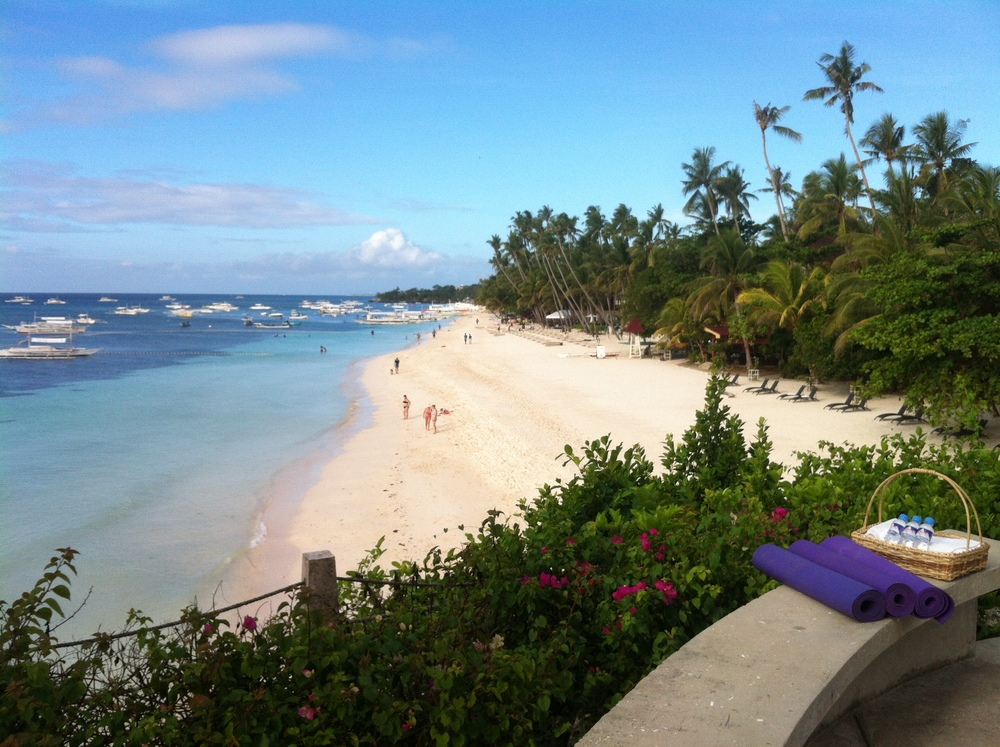 Spectacular view of alona beach from Amorita resort, morning yoga session