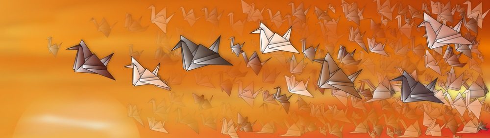 Above us only sky - Digital Illustration of peace cranes