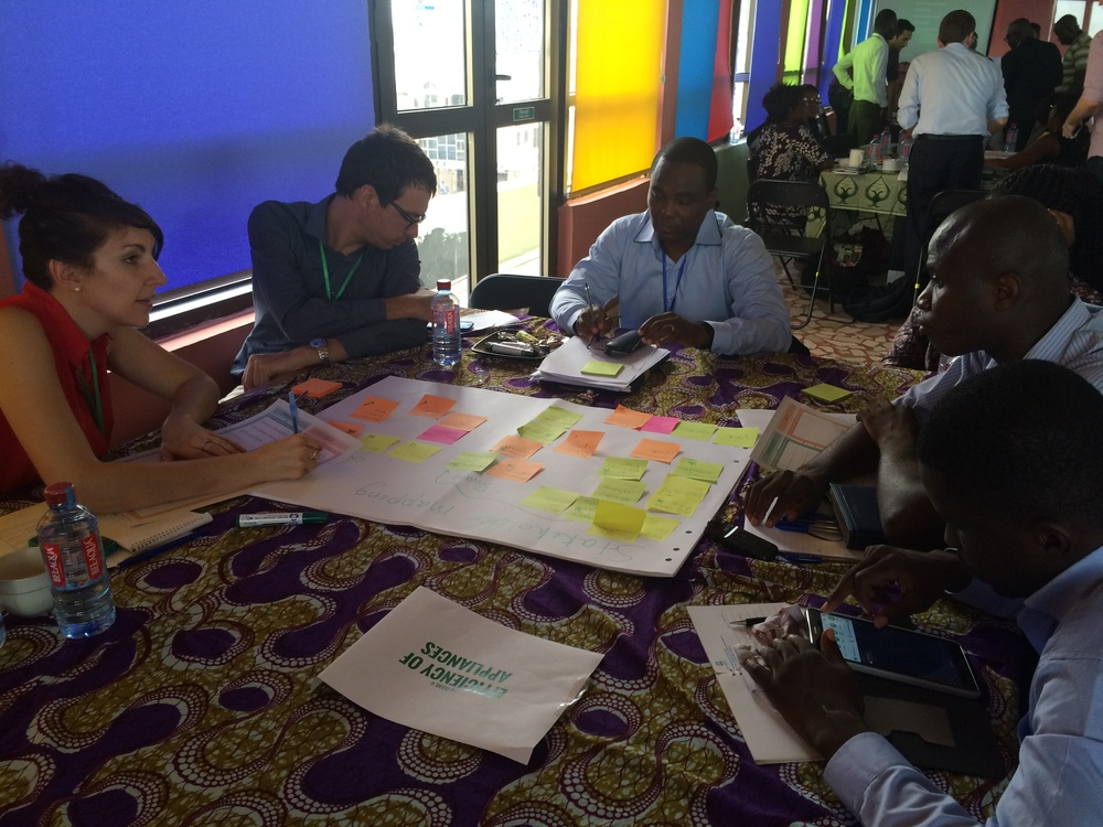 Participants of Energy Efficiency Theme Table are engaged in the stakeholder mapping journey exercise. Photo credit: Zhenia Viatchaninova