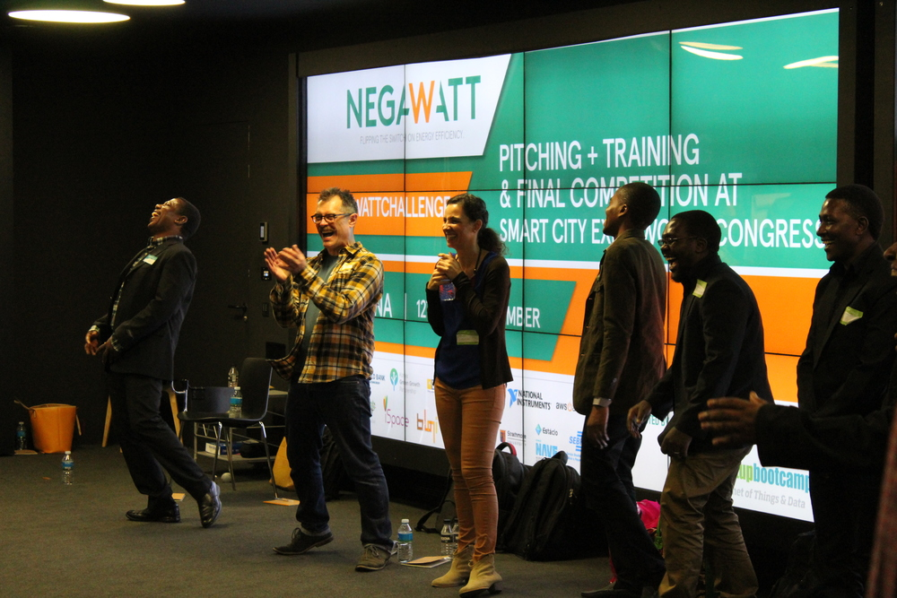 Negawatt teams participating in a pitch training at Startupbootcamp Barcelona, a day before pitching at the Smart City Expo World Congress