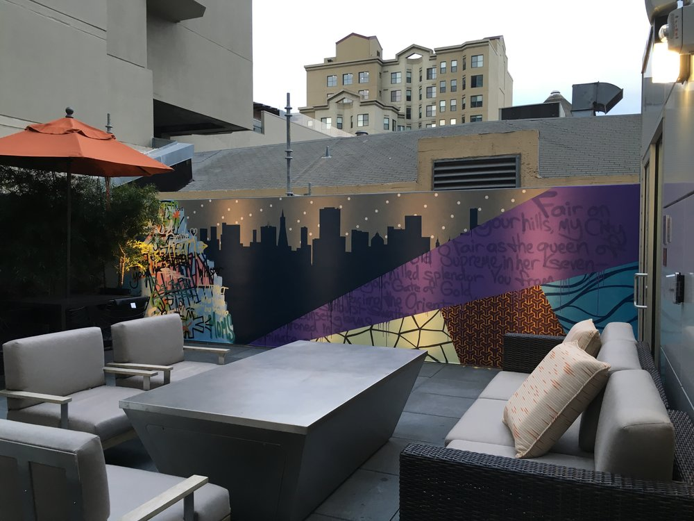 Strider Patton - Courtyard Marriott mural - San Francisco, CA 2016