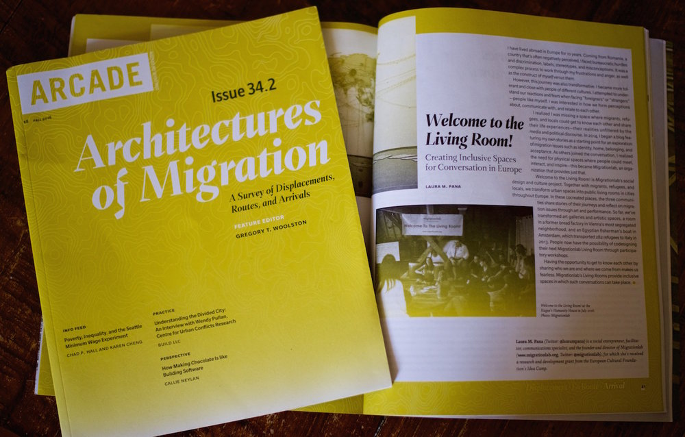 """Welcome to the Living Room - Creating Inclusive Spaces for Conversation in Europe"" article written for the Seattle-based magazine Architectures of Migration (USA)."