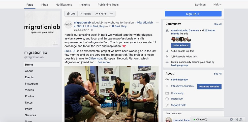 In charge of the Facebook account of the Migrationlab Foundation.
