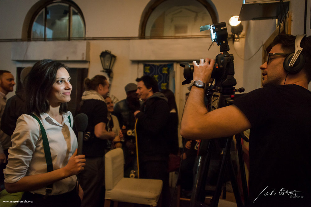 "Making of with video producer  Stuart Jolley Socea  - Migrationlab ""Welcome to the Living Room"" 1st event in Vienna, March 2015."