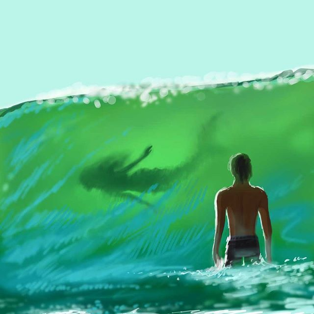 Quick paint! - He looked up to see a shadow in the wave... . . . . #lorrainealvarezposen #illustrationow  #visdev  #Dailyart #childrenswritersguild #instaart #characterdesign  #best_of_illustrations #mermay #mermay2018 #mermaid