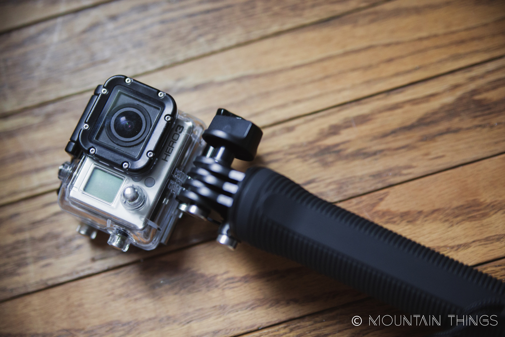 gopro hero 3 with generic 3 way tripod/stick and lcd back.