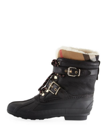 Burberry Windmere Buckled Leather and Shearling Boot