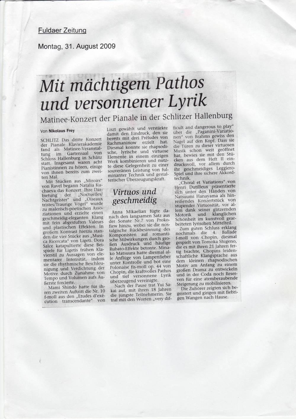 Fuldaer Zeitung (Germany) 31. August 2009.JPG