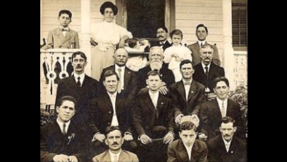 Members of the study: my great-grandfather Domenico Finelli (bottom left) and my great great grandfather Pasqualli Finelli (center with white beard)