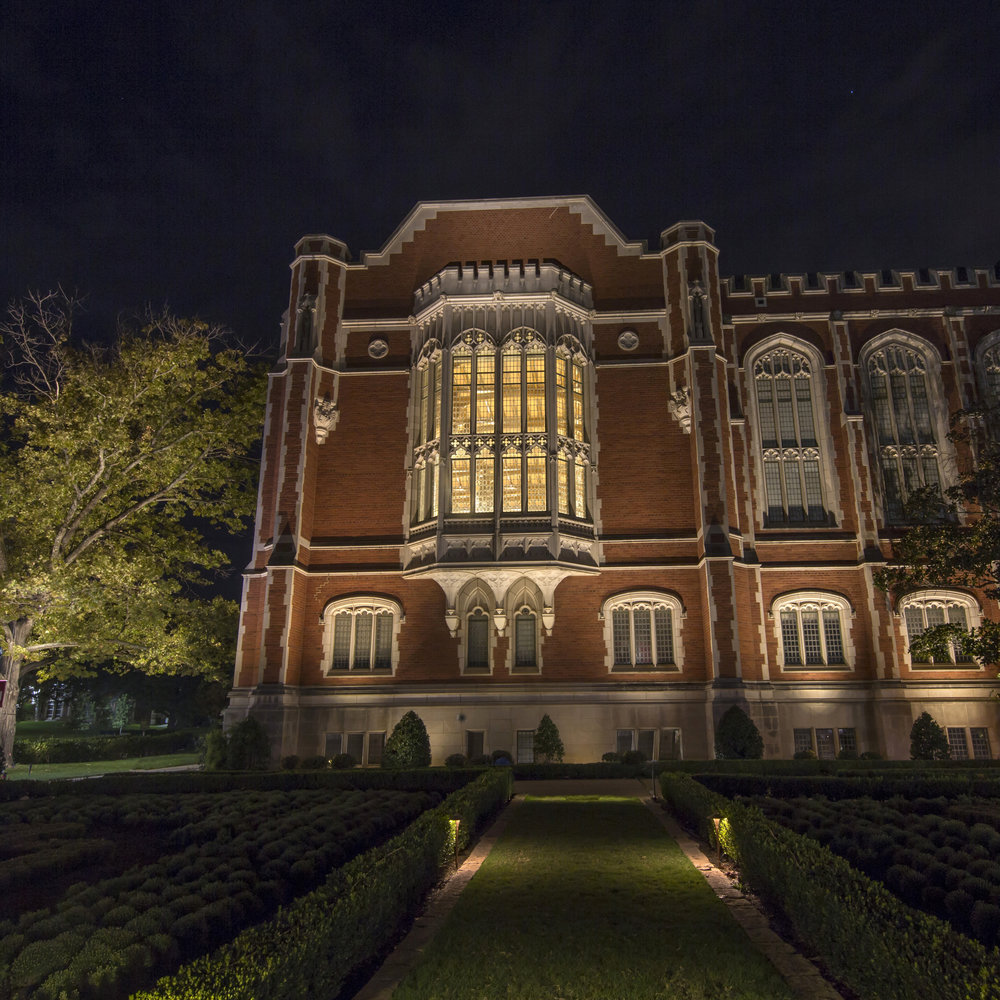 Bizzell Memorial Library, East Facade, University of Oklahoma, Student Work, Intensive Course 2018 - LIT Award, Landscape Lighting Category, 2018