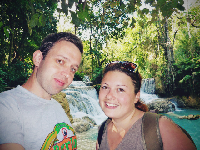 Dan and Me Kuang Si Waterfall