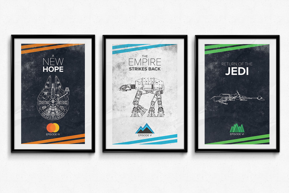 Minimalist Star Wars posters created in 2016 as a hobby project