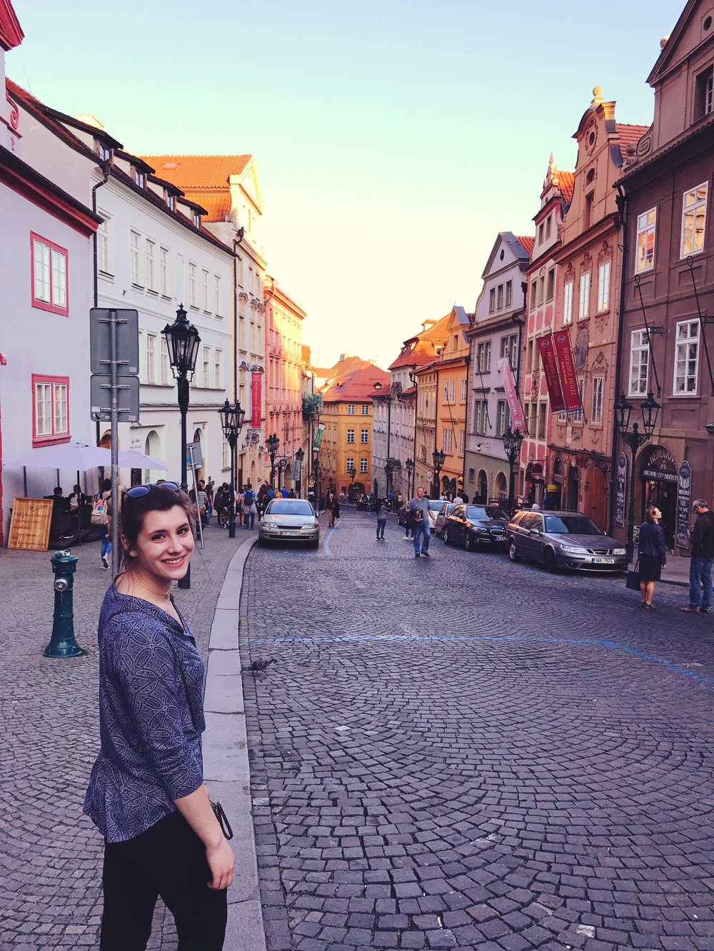Bri looking beautiful as our team ventures through old-town on the way to dinner