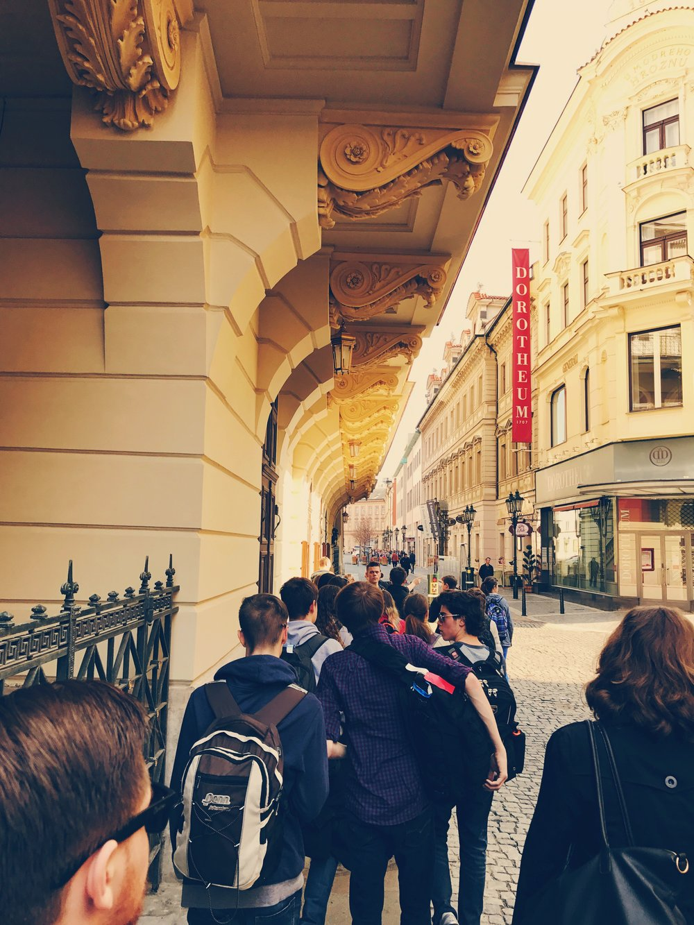 Our team travels through the streets of Prague