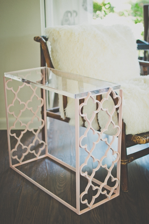 Pink Fleur End Table