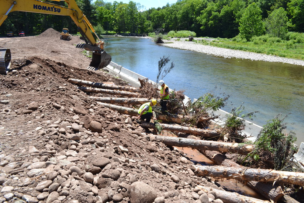 Rootwad revetment for erosion control Main Stem Neversink River, Claryville