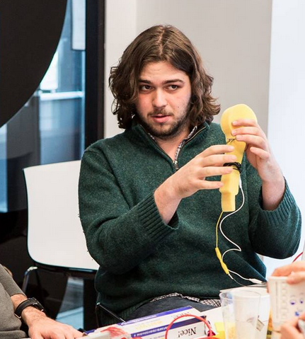 Here is Adam making a microphone out of a sponge because the world is just wonderful.