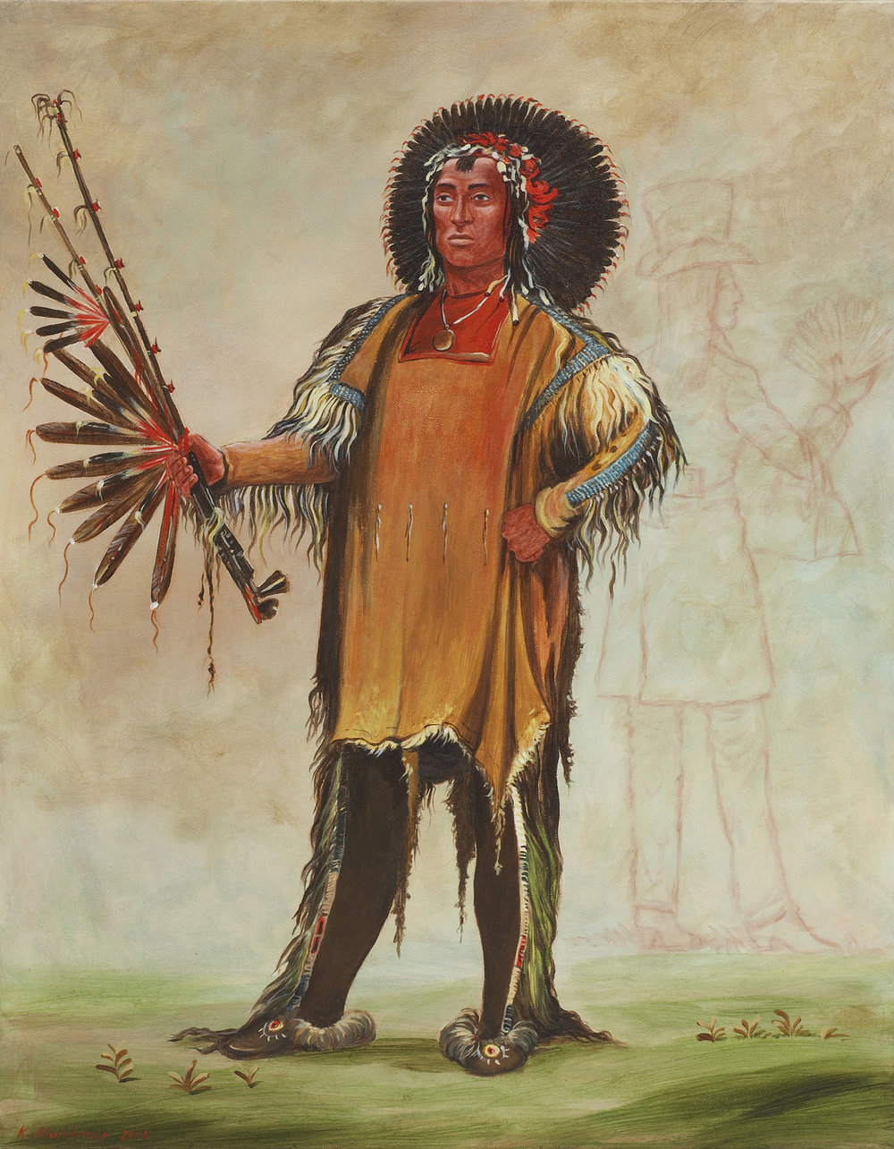 Ha-Na-Tá-Nu-Maúk (Wolf Chief, Head Chief of the Tribe) with Indian Beau 8,566